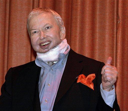 Film critic Roger Ebert after cancer surgery