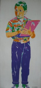 Karl Schonborn's painting of The Bev—holding a book— from Leave it to Beaver - checked shirt, purple pants.