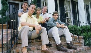 Peyton Manning cleft palate Special treatment? Sitting on front porch steps.