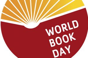 Round logo in rust and orange with World Book Day spelled out.