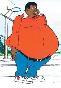 Cartoon of Fat Albert in red shirt, blue pants.