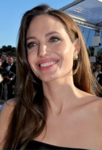 Actress Angelina Jolie with chin in air at 2011 Cannes Film Festival