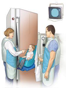 Diagram of child beginning cleft palate speech evaluation.
