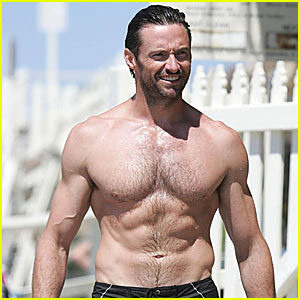 Bust shot of well-muscled actor Hugh Jackman