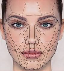 Color drawing of woman's face with lots of lines of symmetry on it.